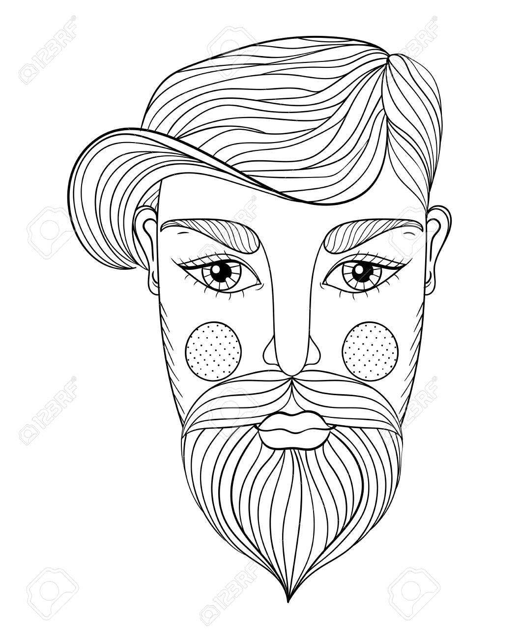 1056x1300 Vector Xentangle Portrait Of Man Face With Mustache And Beard