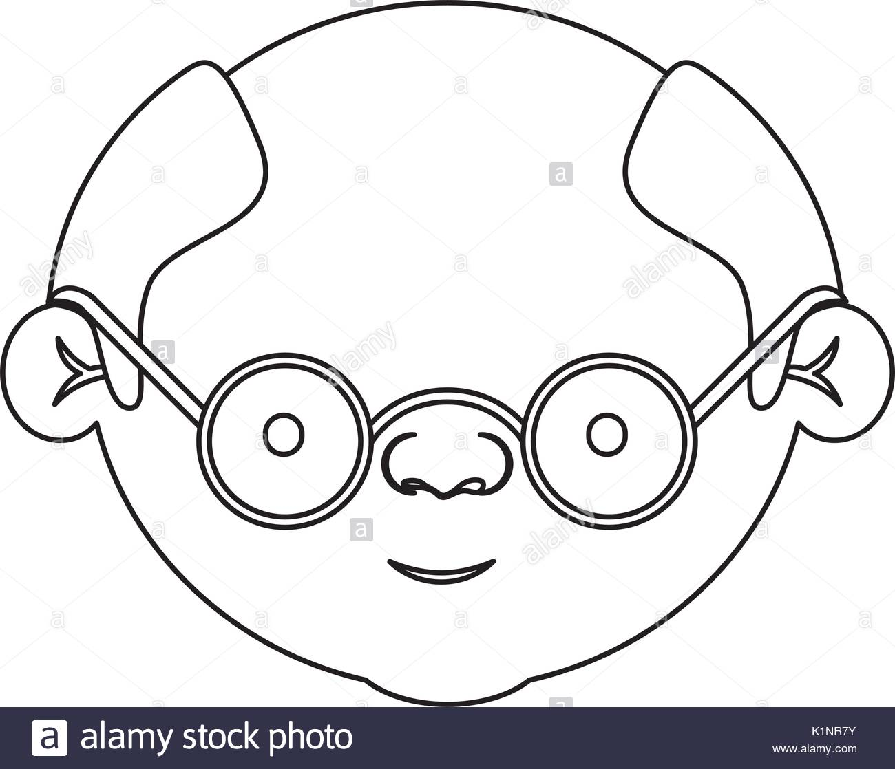 1300x1118 Sketch Silhouette Of Face Bald Elderly Man With Glasses Stock