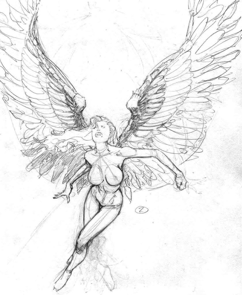 Man With Wings Drawing