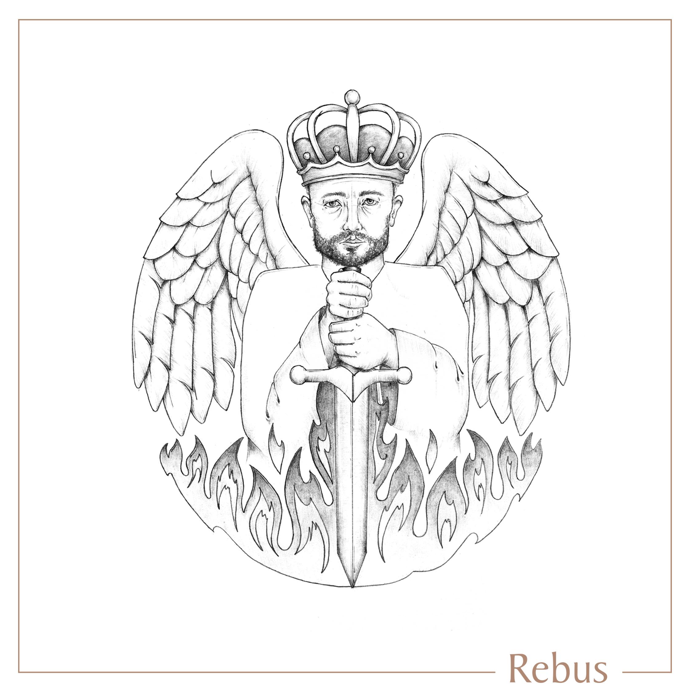 2245x2244 Man, Sword, Wings, Winged Man, Angel, Fire, Symbolic, Bespoke