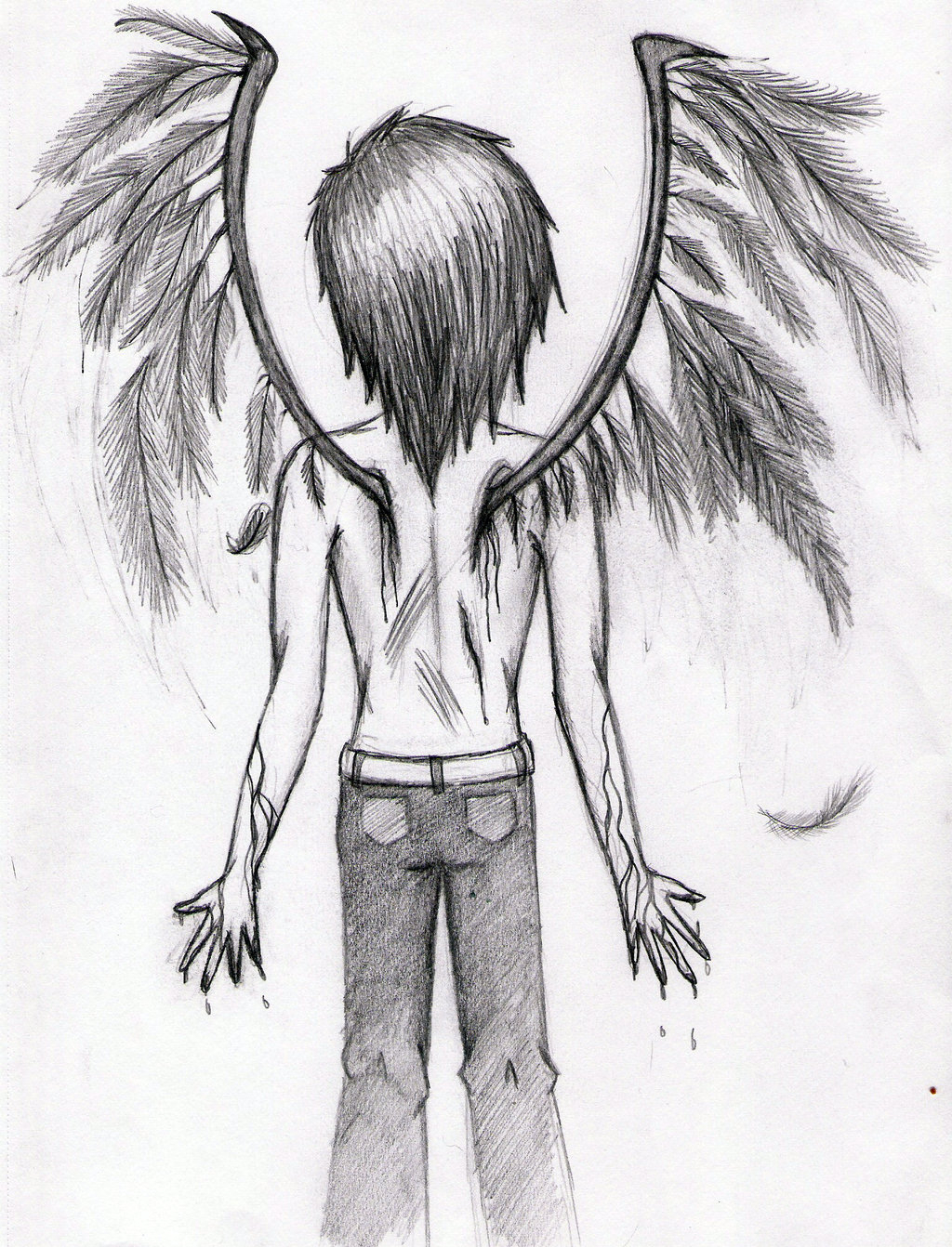 1024x1342 Man With Wings Drawing Cut Out The Middle Man Broken Wings By Izzy