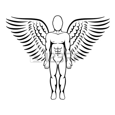 450x450 Man With Wings. Angel Figure. Vector Illustration. Royalty Free
