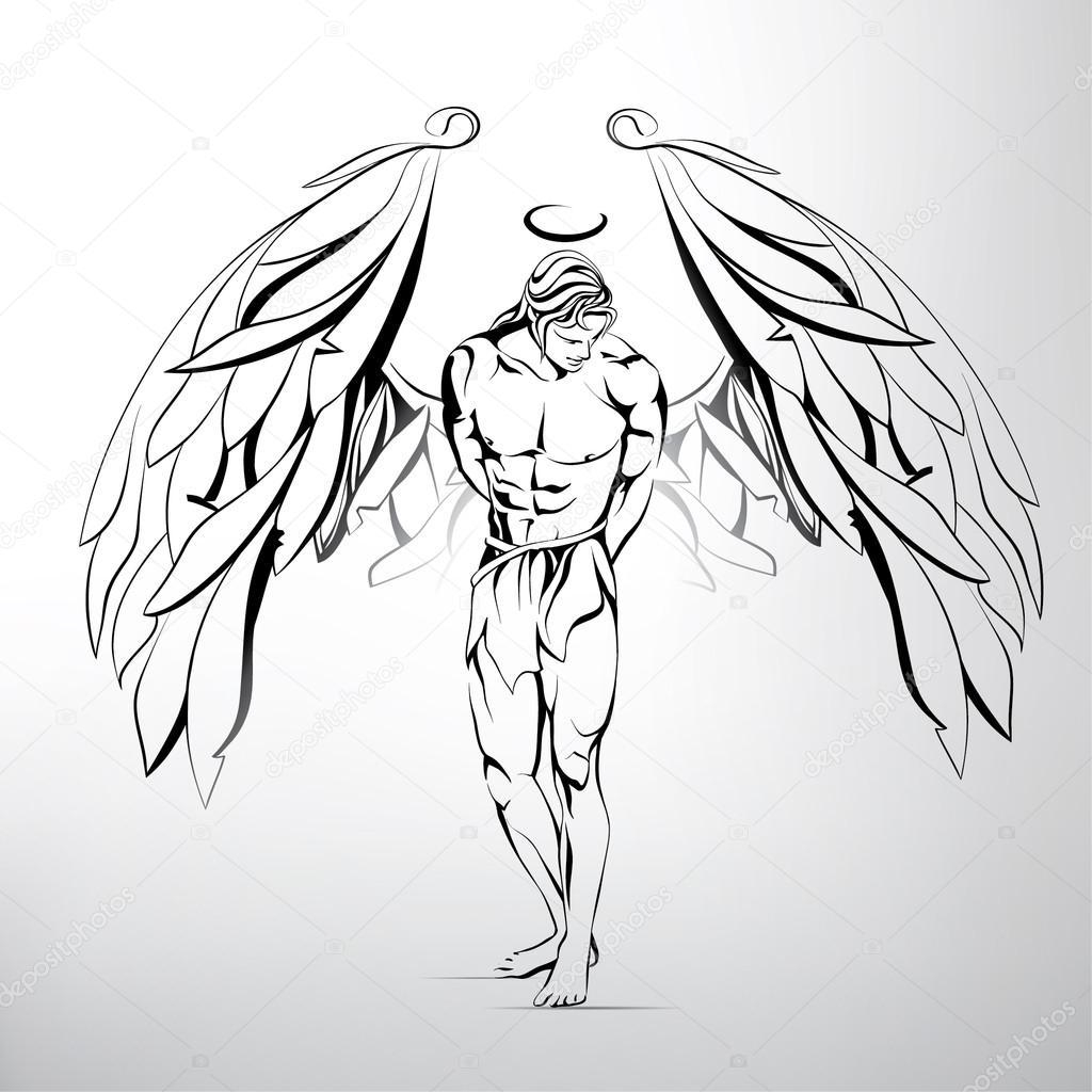 1024x1024 Man Angel Illustration Stock Vector Nutriaaa