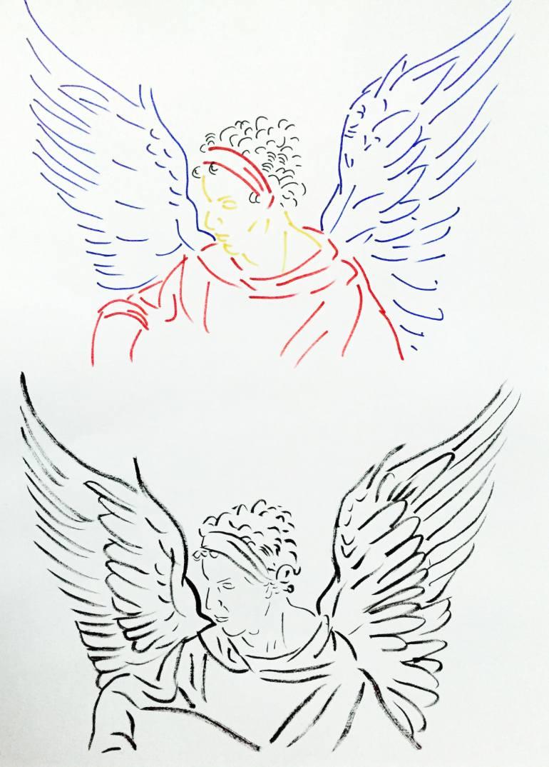 770x1074 Saatchi Art Winged Man (After Durer) Drawing By Zoran Poposki