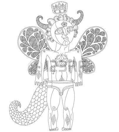 405x450 Vector Hand Drawn Graphic Illustration Of Weird Creature, Cartoon