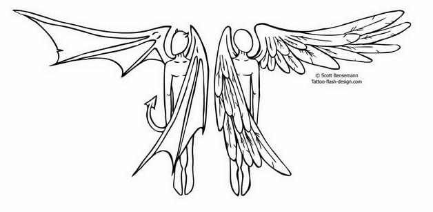 628x307 Angel Wings Star Tattoo On Back