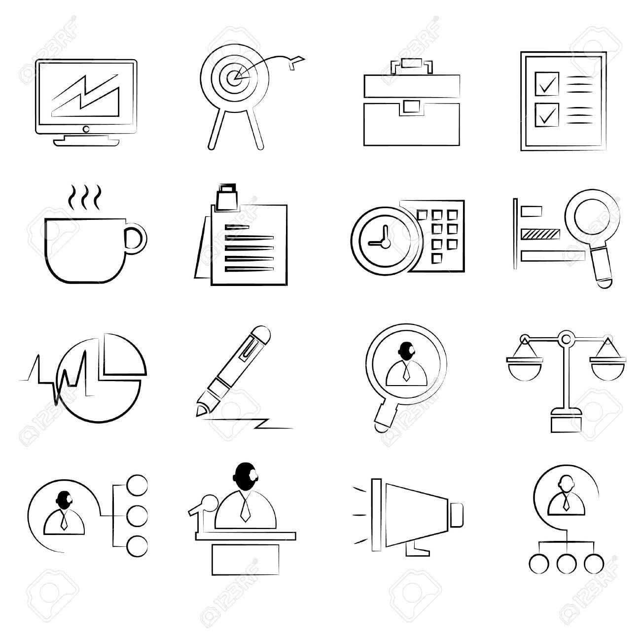 1300x1300 Business Management Concept Icons Set, Drawing Line, Pencil Line