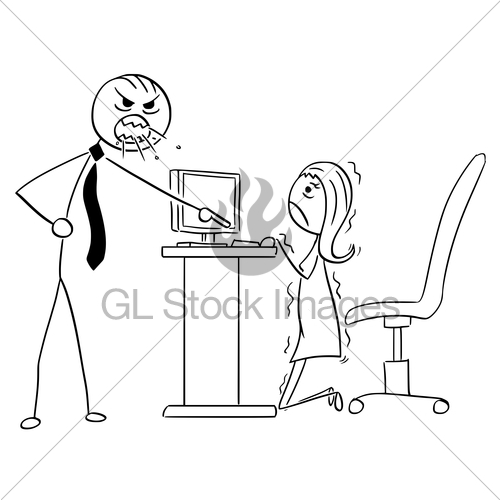 500x500 Cartoon Illustration Of Angry Boss Manager Screaming At B Gl