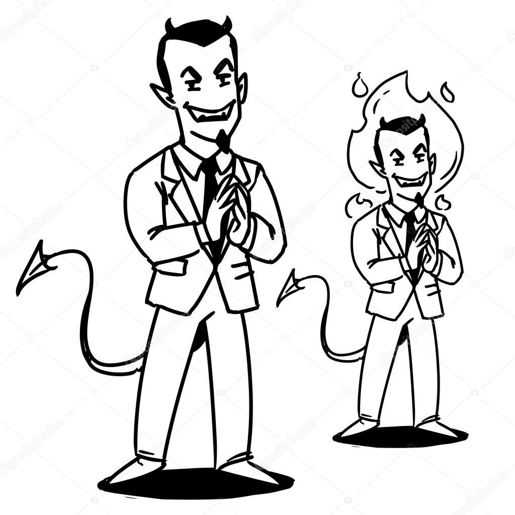 1024x1024 Satan Businessman.devil Manager Cartoon Character. Devil In Suit