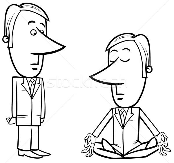600x563 Meditating Businessman Drawing Vector Illustration Igor Zakowski