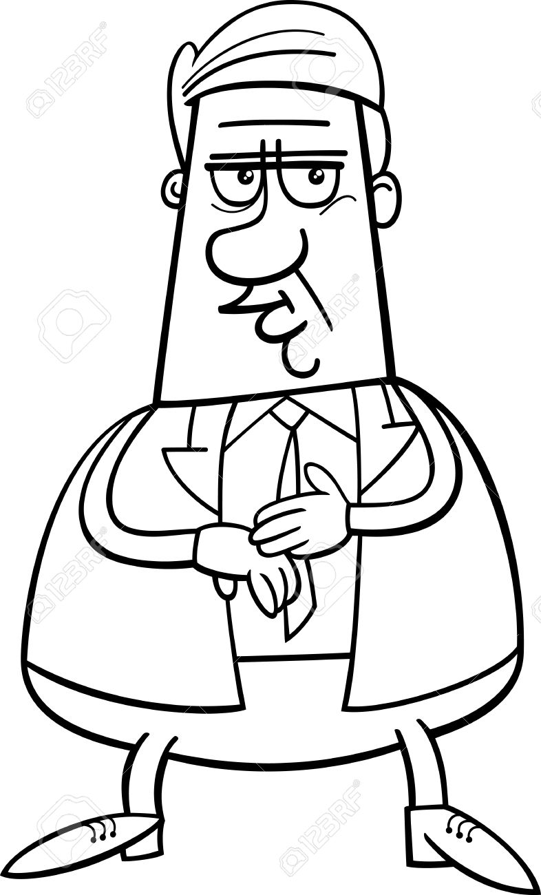 786x1300 Black And White Cartoon Illustration Of Businessman Or Manager