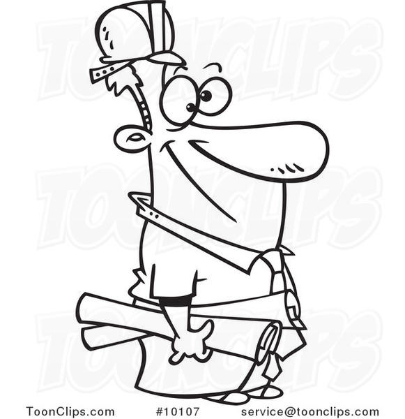 581x600 Cartoon Black And White Line Drawing Of A Construction Manager