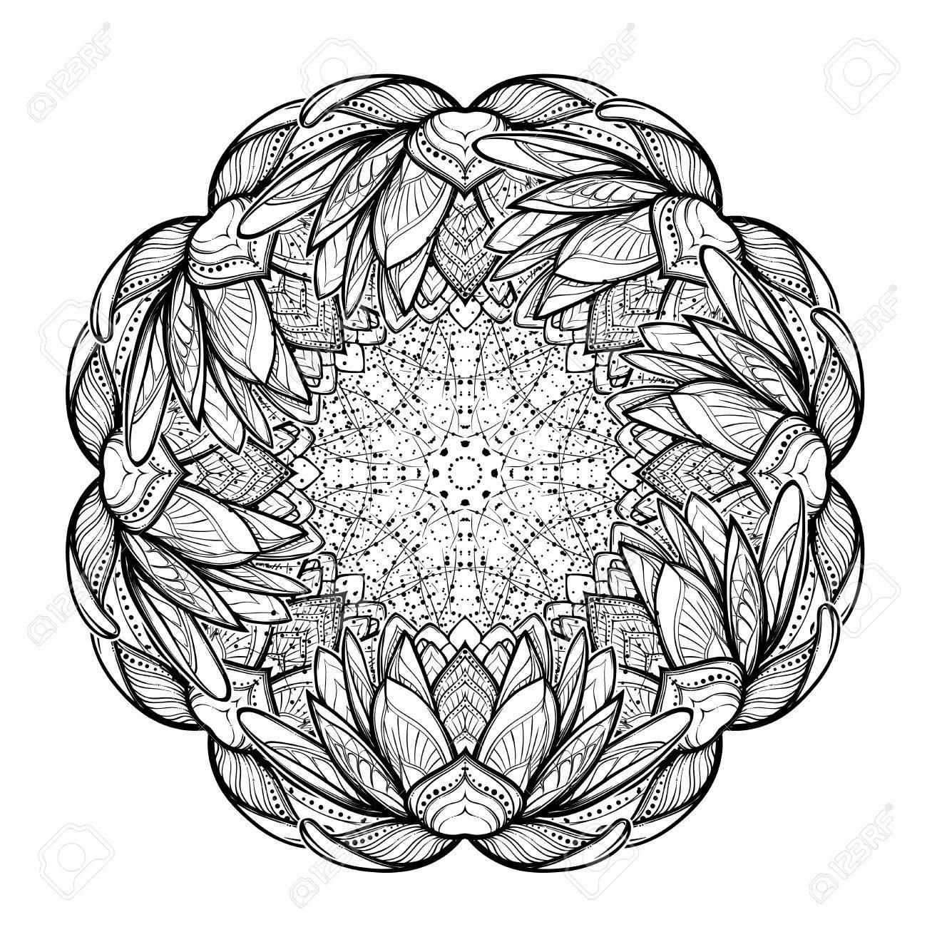 1300x1300 Lotus Flower Mandala. Intricate Stylized Linear Drawing Isolated