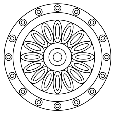 480x472 Mandala With Flower Pattern Coloring Page Free Printable