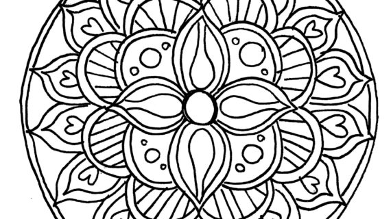 570x320 Simple Drawing Of Buddha Tibetan Mandala Coloring Page Free