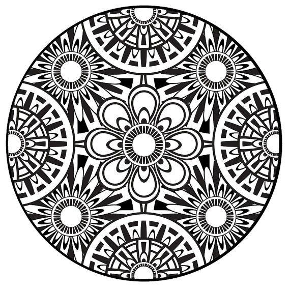 570x570 Coloring Page, Mandala, Instant Pdf Download, Printable Coloring