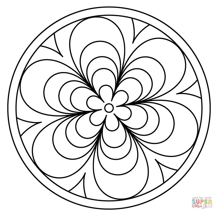 824x810 Mandala With Floral Patern Coloring Page Free Printable Coloring