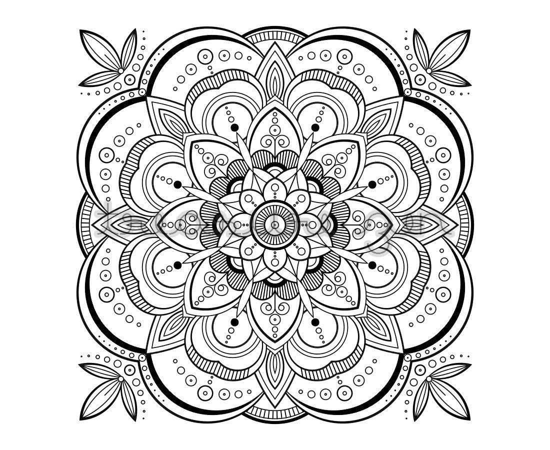 1100x900 Printable Adult Coloring Book Page, Pdf Mandala Coloring Book Page