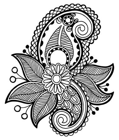 383x450 Black Line Art Ornate Flower Design Ukrainian Ethnic Style