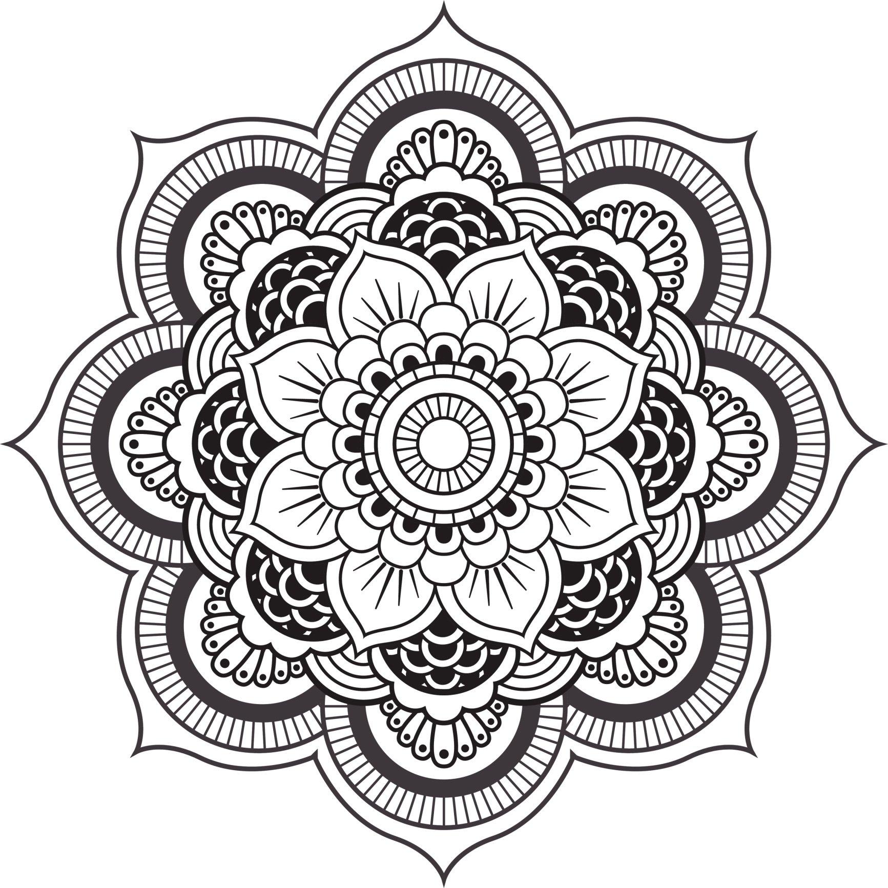 1733x1733 Detailed Mandala Design Black White Vinyl Decal Sticker Two In One