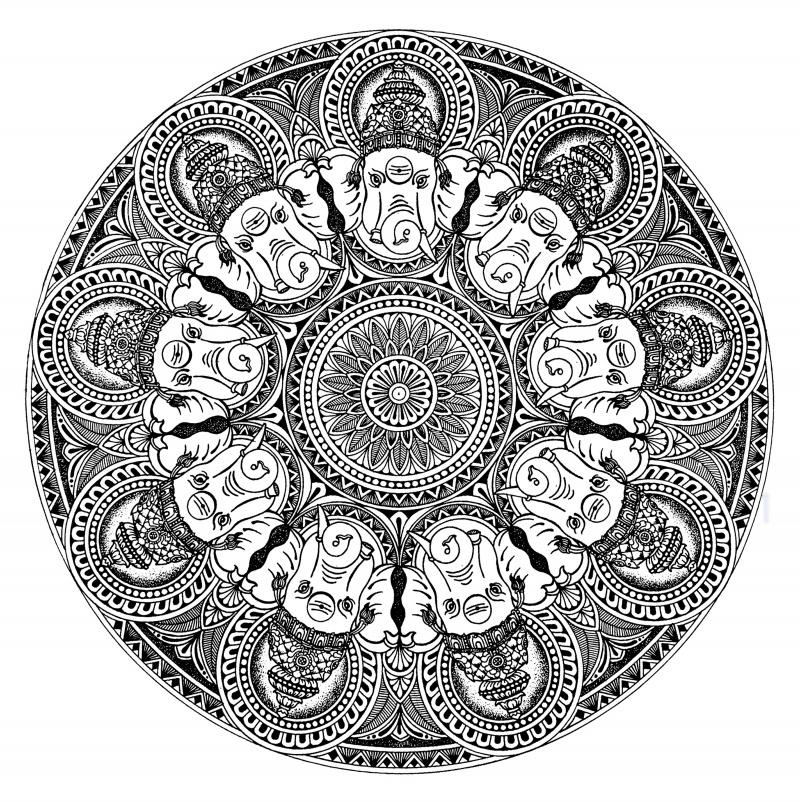 800x802 Ganesha Mandala by artist V Pugalenthi PenampInk Drawings on Paper