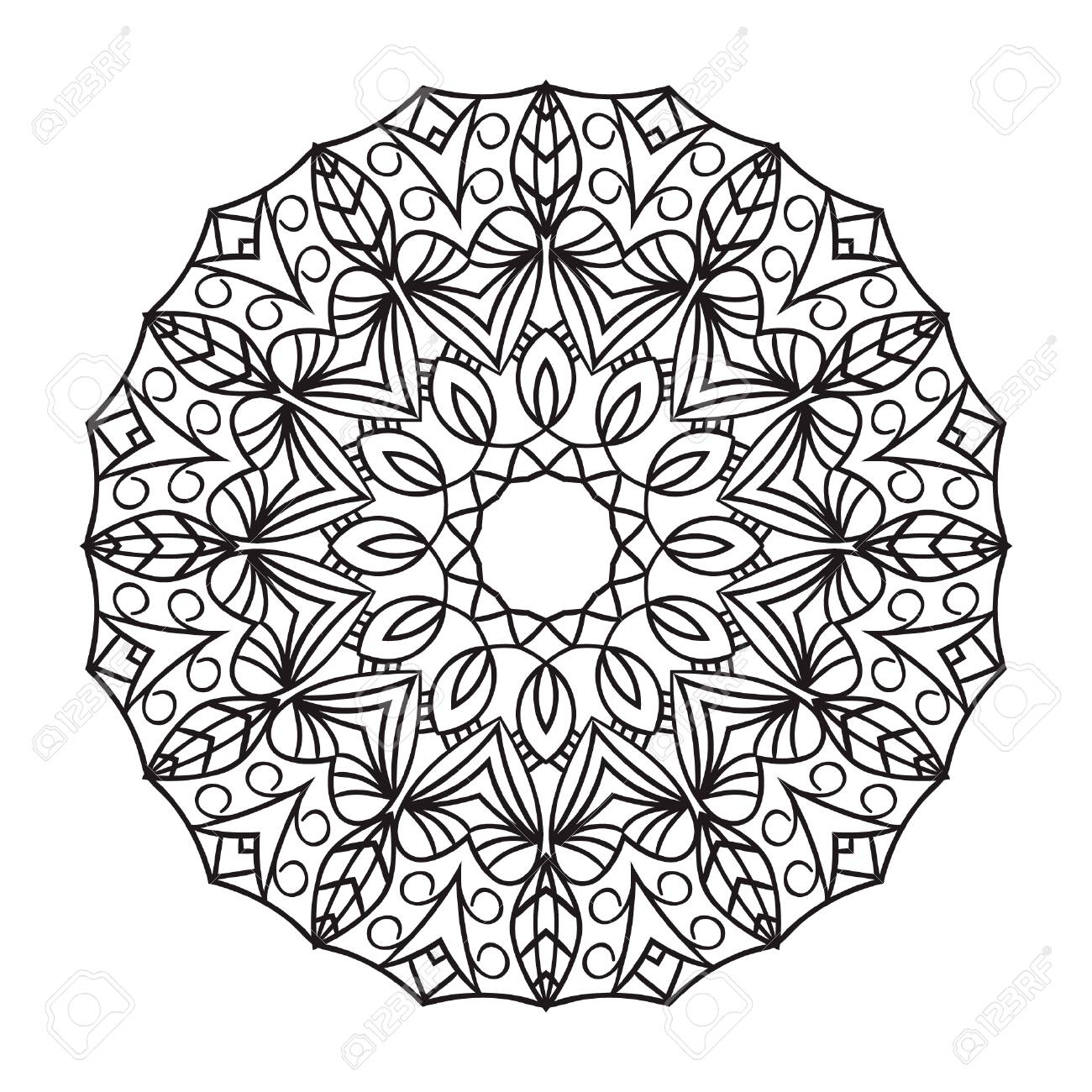 1300x1300 Mandala. Black Drawing Isolated On White. Design For Coloring