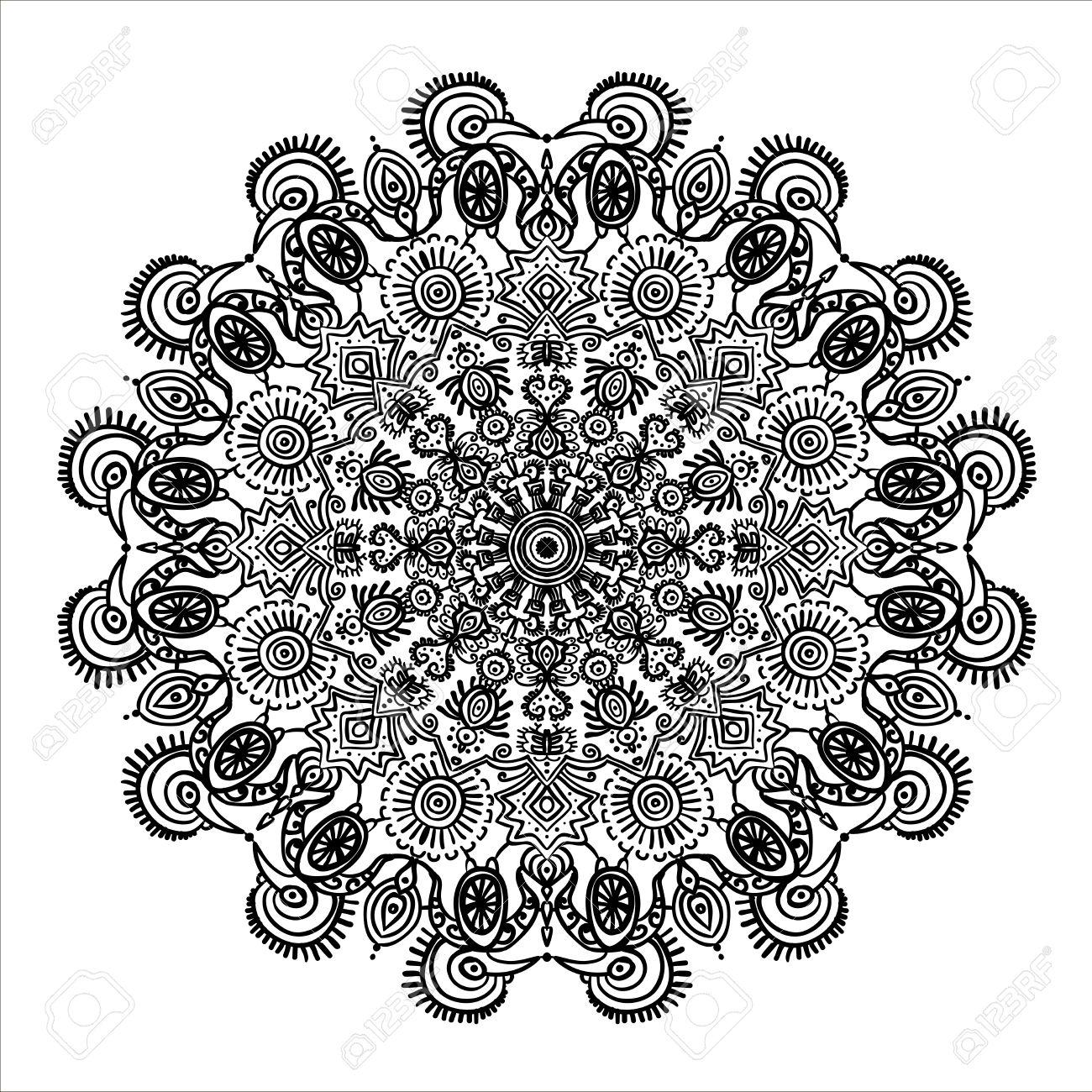 1300x1300 Circular Pattern Mandala Mexican Ethnic Ornament And Animals