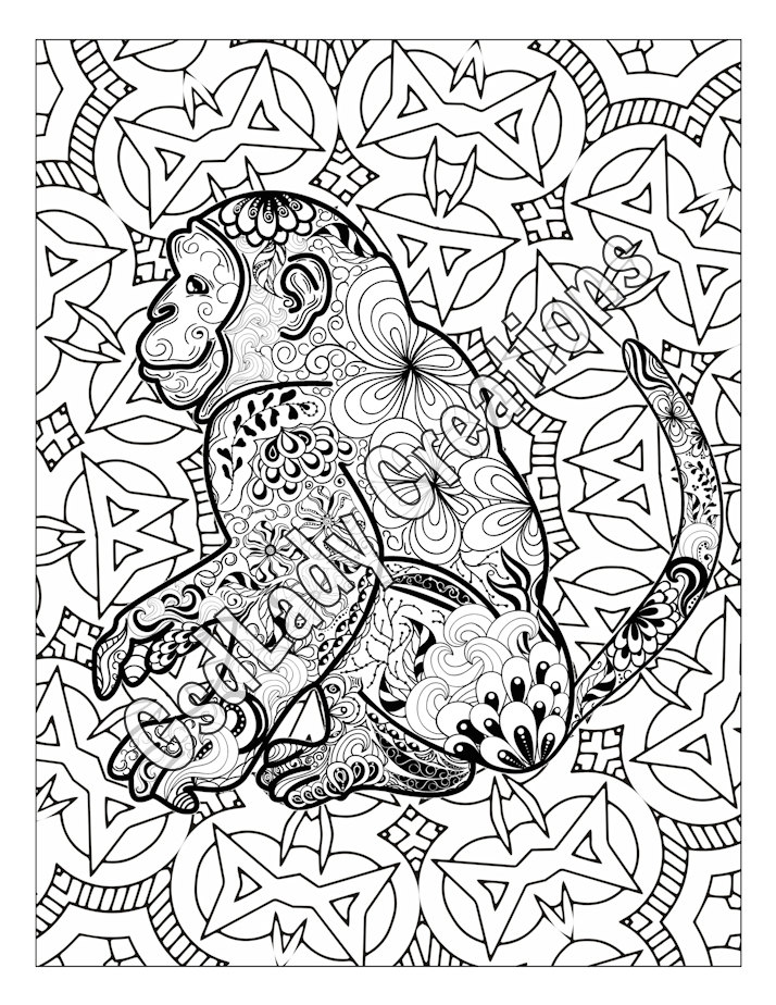714x924 Monkey Animal Art Page To Color Zentangle