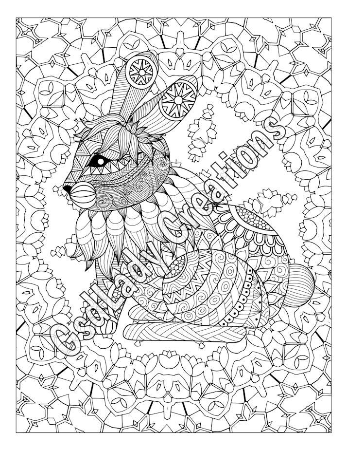 714x924 Rabbit, Animal Art Page To Colour, Zentangle Animal, Zentangle