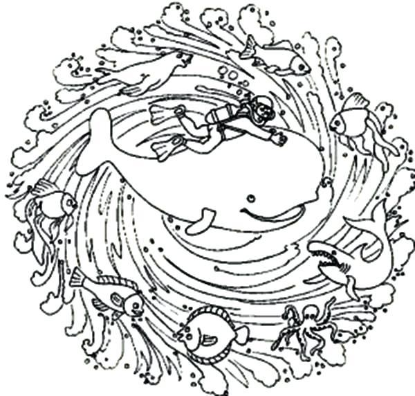 600x572 Sea Animals Mandala Animal Coloring Pages Bulk Color Ocean