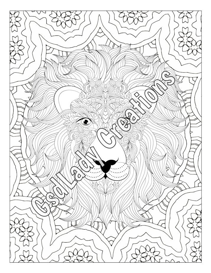 714x924 Zen Lion Animal Art Page To Color Zentangle