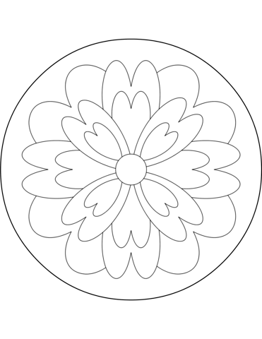 371x480 Easy Mandala With Flower Coloring Page Free Printable Coloring Pages