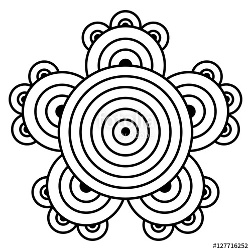 500x500 Simple Mandala Flower Design For Coloring Book Pages. Doodle