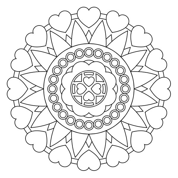 600x600 Heart Mandala Coloring Pages