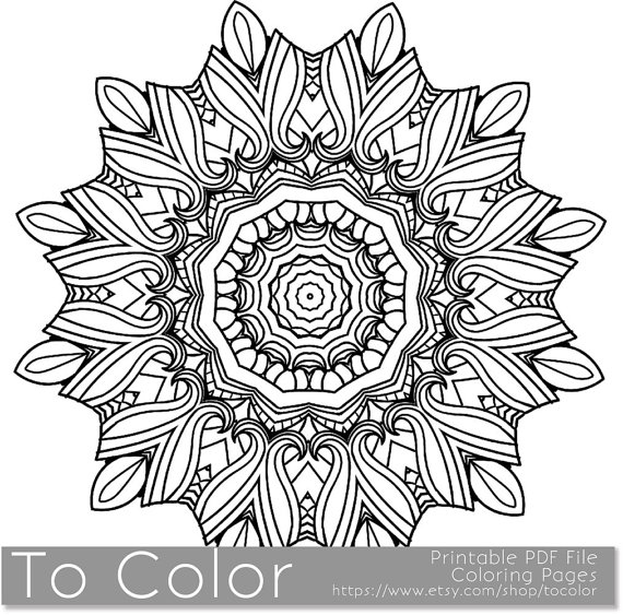 570x563 Printable Coloring Page For Adults Mandala Pattern PDF By ToColor