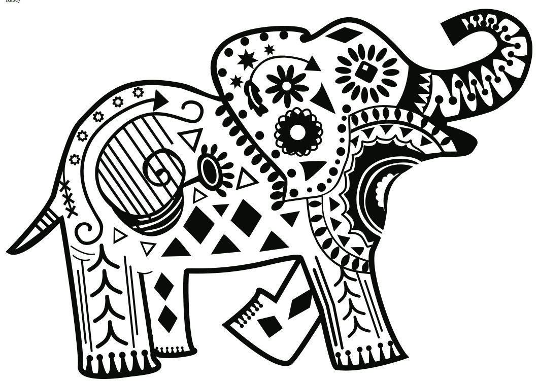 1062x751 Abstract Elephant Coloring Pages