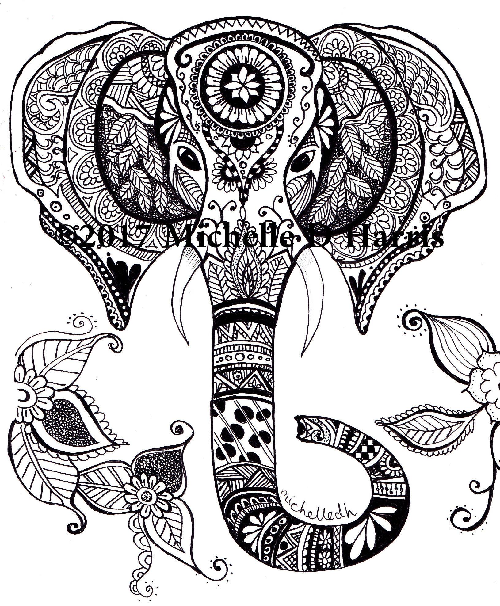 1631x1977 Zentangle Elephant Print Mandala Elephant Print Elephant