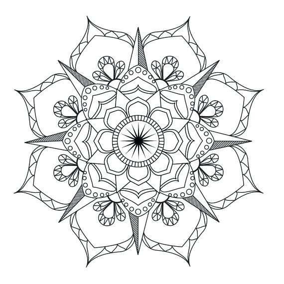 570x570 Adult Mandala Coloring Pages Also Flower