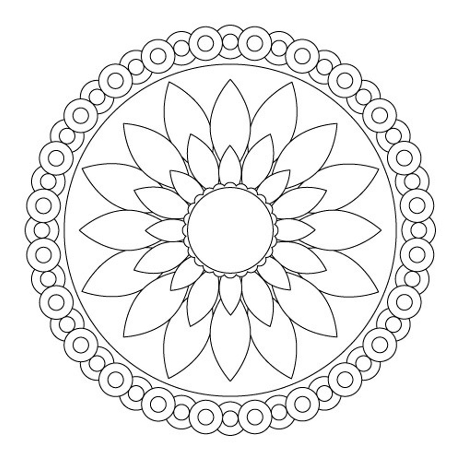 945x945 Simple Mandala Flower Coloring Pages Printable