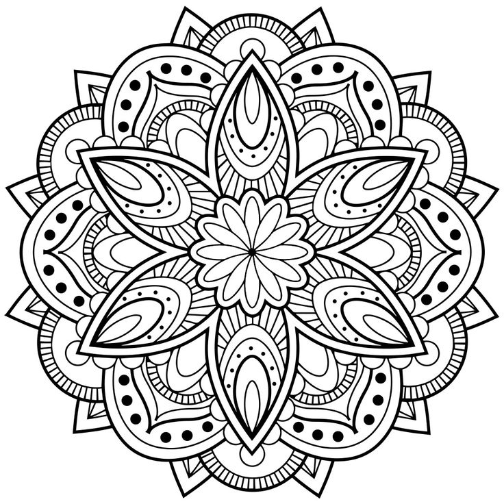 736x736 Adult Coloring Pages Mandala Flower Free