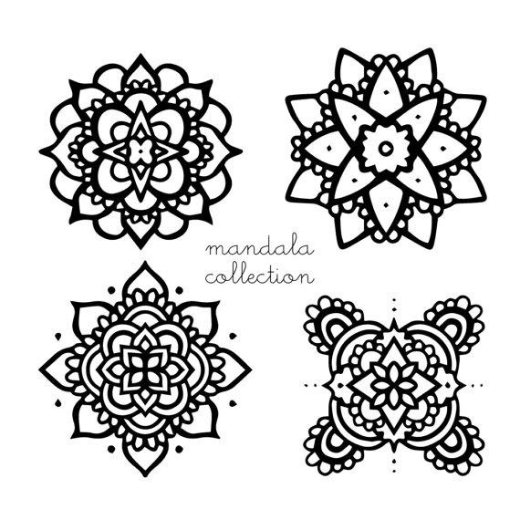 570x570 Mandala Clipart, Mandalas Flower Png Black White, Illustration
