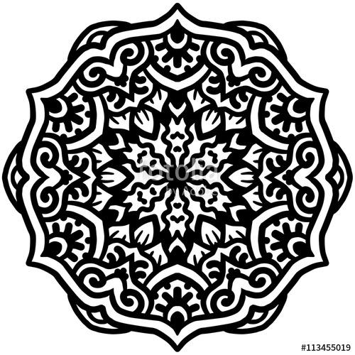 500x500 Black Mandala For Coloring. Mandala Vector Coloring Page. Mandala