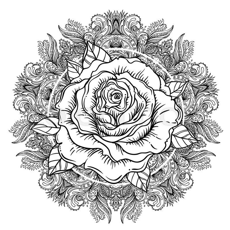 800x800 Rose Flower Over Mandala. Tattoo Flash. Highly Detailed Vector