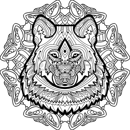 450x450 Strong Wolf Is Drawn By Hand With Ink, With Ethnic Patterns