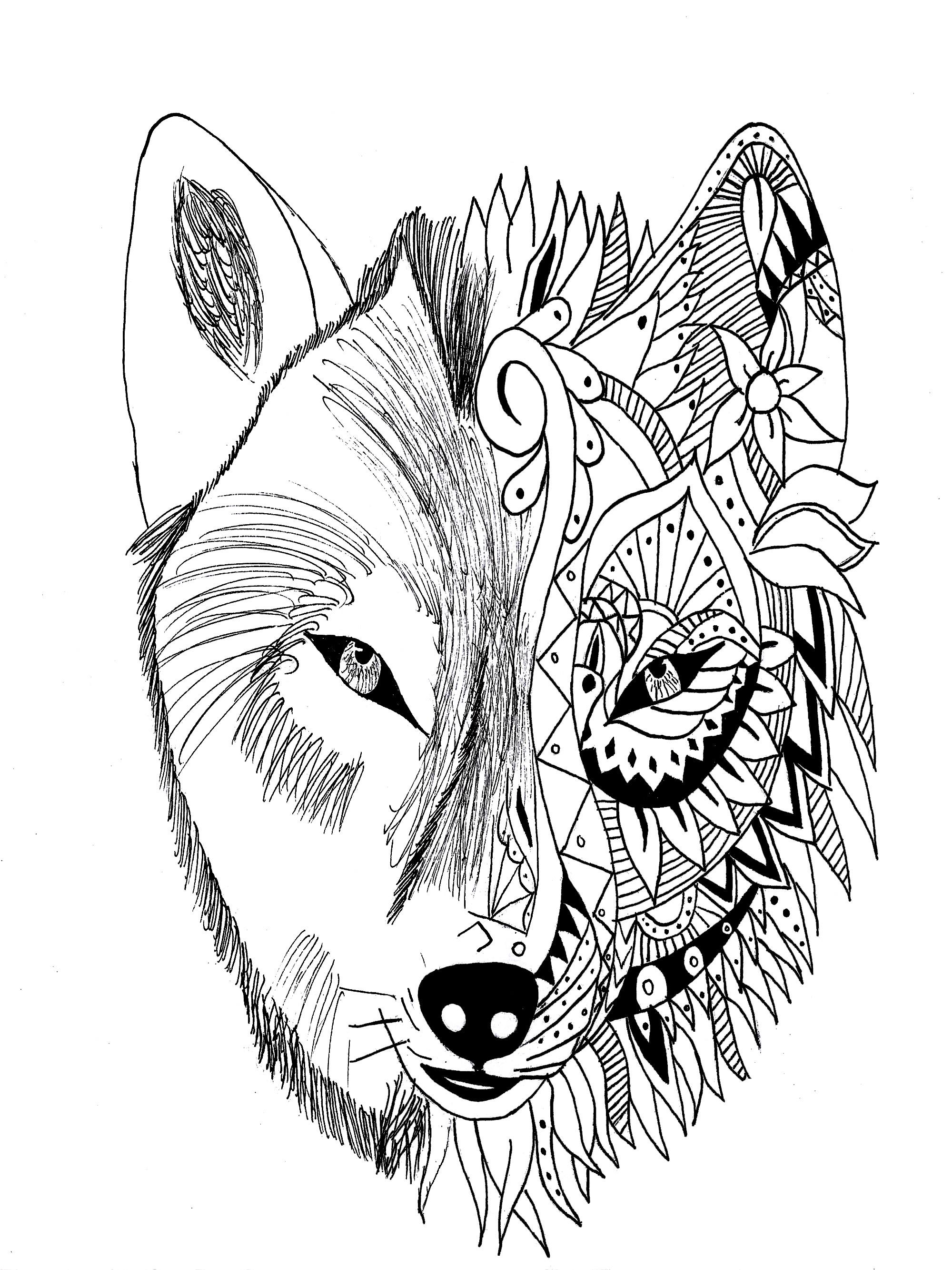 Mandala Wolf Drawing at GetDrawings | Free download