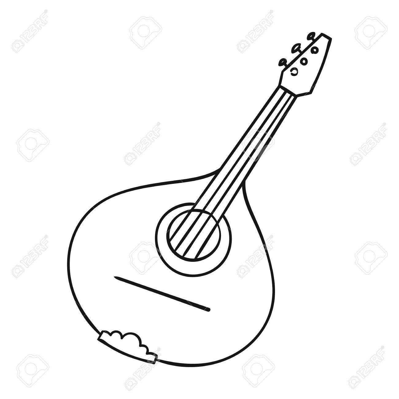 1300x1300 Italian Mandolin Icon In Outline Style Isolated On White