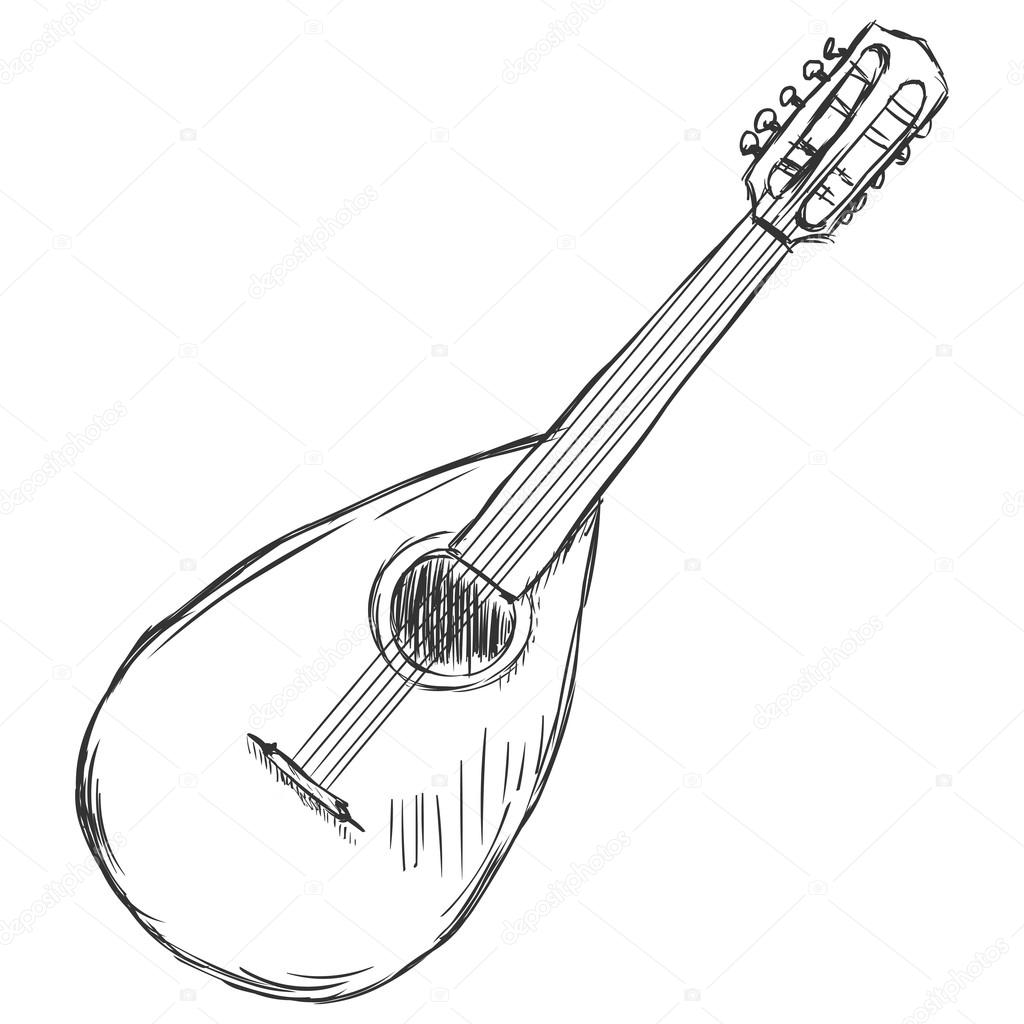 1024x1024 Vector Sketch Mandolin Stock Vector Nikiteev
