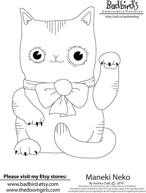 474x629 Free Maneki Neko Embroidery Pattern From Badbird's Make