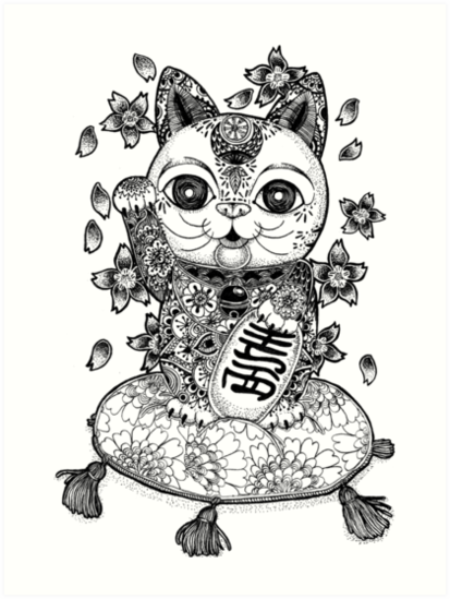 413x549 Maneki Neko Art Prints By Kicki Yang Zhang Redbubble