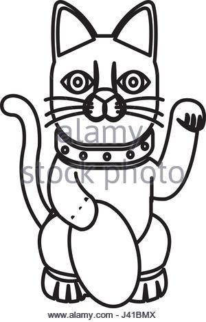 300x469 Maneki Neko Japan Cat Doll Set. Charming Vector Hand Drawn Chinese